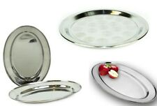 STAINLESS STEEL ROUND TRAY / MINI OVEL PLATTER SERVING DISH CATERING DINNER