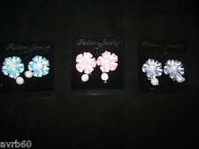 earrings in flower shaped faux pearl pink and blue pierced silver are clip on