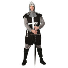 Mens Black Knight Historical Medieval Halloween Fancy Dress Stag Party Costume