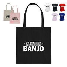 I'D RATHER BE Banjo Player Music Gift Cotton Tote Bag SQ