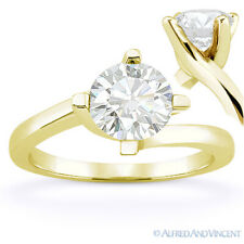 Round Cut Forever Brilliant Moissanite 14k Yellow Gold Solitaire Engagement Ring