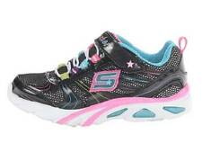 NEW Girl's Youth SKECHERS LITE GEMZ 10374 Black/Pink LIGHTS Casual Sneaker Shoes