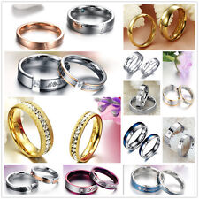 Stainless Steel Couple Rings Promise Wedding Bands Comfort Fit Engagement