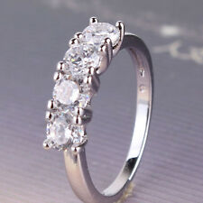 Top Fashion  ring ! Lady 18k white gold filled White topaz nice ring  Sz5-Sz9