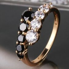 Smart Design 18K gold filled lady white&black topaz engagement band ring Sz5-Sz9