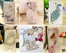 For S3 S4 S5 Note 2 3 4 Bling Cute Crystal Handmade Diamond Clear Hard Back Case