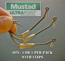 Mustad Weighted Swimbait Hooks for bass fishing lures. 3/0 to 8/0.
