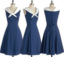 50s 60s Style Navy Polka Dot Rockabilly Pinup Party Swing Dress S-2XL AF 3270