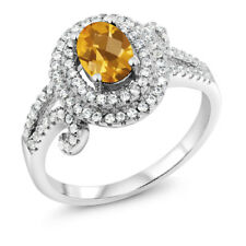1.95 Ct Oval Checkerboard Yellow Citrine 925 Sterling Silver Ring
