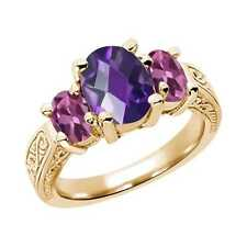 2.60 Ct Oval  Purple Amethyst Pink Tourmaline 14K YG  Ring