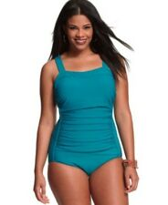 INC One Piece Swimsuit Peacock Ruched Tank Bathing Suit Plus Size 16W-22W