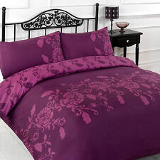 Kensington Plum Aubergine Purple Floral Reversible Duvet Quilt Cover Bedding Set