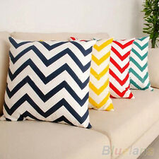 Ripple Chevron Zig Wave Linen Cotton Cushion Cover Home Decor Throw Pillow Case