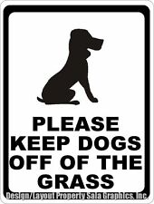 Please Keep Dogs Off of The Grass Sign. Size Options. Rules for Dog Walkers