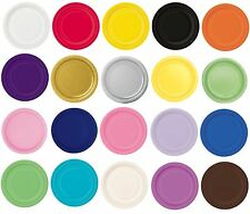 """20 x 7"""" ROUND Paper PLATES (17cm) Plain Solid Colours Birthday Party Tableware"""