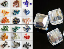 200pcs 8mm Faceted Square Cube Glass Crystal Charm Finding Loose Spacer Beads