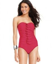 NWT INC One Piece Swimsuit Pink Strapless Ruched Ruffle Bathing Suit Size 8 - 20