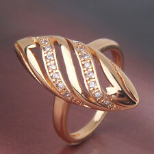 Engagement Marquise shape white sapphire 24k yellow gold filled fit ring SizeJ-R