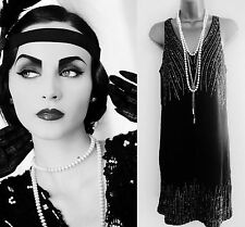 Black Great Gatsby Flapper Art Deco 1920 1930 Party Dress Size 6 8 10 12 14