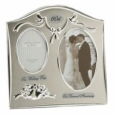 Then & Now Anniversary Silverplated Photo Frame 25th 40th ruby 50th 60th 30th
