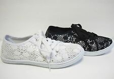White Black Silver Lace Tie Seakers Flats  Shoes
