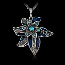 Fashion Crystal Flower Pendant Sweater Silver Long Chain Necklace Christmas Gift