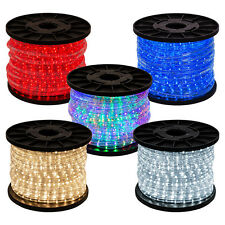 "150' 2-Wire Home Christmas LED Rope Light Cool Warm White RGB Blue Red 1/2"" Tube"