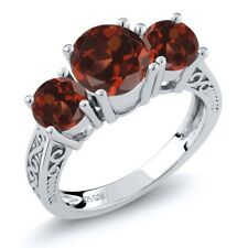 2.70 Ct Round Red VS Garnet 925 Sterling Silver 3-Stone Ring