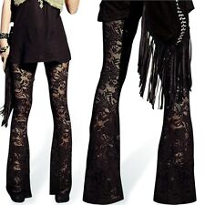 New Lady Leggings Lace Floral Hollow Flares Sexy Casual Elastic Women Pants