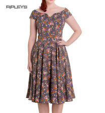 HELL BUNNY Grey 50s Dress ANTONELLA Vintage Floral Rockabilly All Sizes