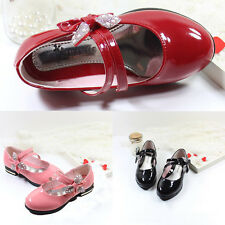 Princess Girl Kid Bow Shoes Slip On Flats Dress Casual Velcro Children's Gifts