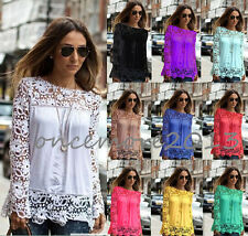 New Womens Ladies Embroidery Lace Chiffon Long Sleeve Tops T Shirt Casual Blouse