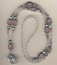 Pink Dazzle & Crystal Beaded Lanyard Badge ID Holder