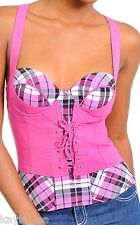 Pink Plaid Lace-Up Cincher Smocked Corset/Bustier/Tube/Cami Top