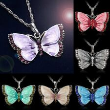 Fashion Women Jewelry Enamel Butterfly Crystal Silver Pendant Sweater Necklace