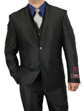PROMOTION! SHARP 3pc MEN 2B. SHARK SKIN SLIM CUT SUIT BLACK 34S-52L tb21