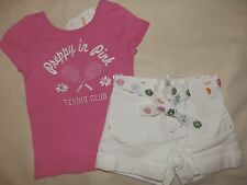 Gymboree DAISY DELIGHTFUL Pretty In Pink Flower Tennis Club Tee White Shorts 3 4