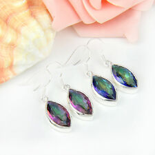 2 Pieces/Lot Gorgeous Horse Eye Rainbow Mystical Topaz Silver Earrings 1 1/2""