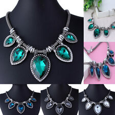 New Design Big Crystal Mixed Style Chain Drop Bib Statement Necklace Pendant