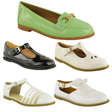 WOMENS LADIES FLAT CUT OUT MARY JANE T BAR GEEK TASSEL STRAPPY PUMPS SHOES SIZE