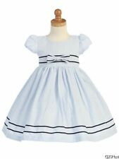 Girls Easter Spring Cotton Seersucker Blue Striped Dress Brother Sister Styles