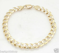 8mm Mens Solid Curb Cuban Link Chain Bracelet Real 14K Yellow Gold 14.90gr