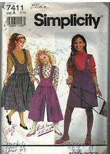 7411 Simplicity Vintage Sewing Pattern Girls Culotte Jumper Pullover Top Jumper