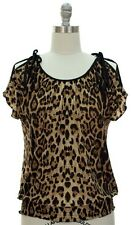 NWT WOMEN'S PEEK A BOO TOP BROWN LEOPARD