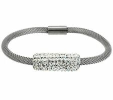 QVC Stainless Steel by Design Black Mesh Bracelet Clear Crystal Accents