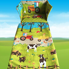 Farm Animals Tractor Cot BEDDING SET - EXCLUSIVE - Blue Green