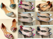 NEW Women's Casual Fashion Floral Print Metal Pointed Toe Flats Shoes US3-11