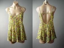 Bright Ditsy Floral Tiered Chiffon Strappy Babydoll Cami Top 130 mv Blouse M