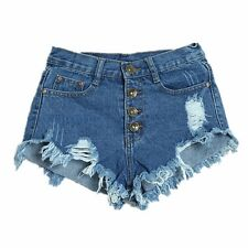 Women/Lady Denim Hot Pants Shorts Distressed Ripped Frayed High Waist Button New