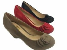 Ladies Shoe No Shoes Like Black Red or Latte Microfibre Wedges Heels Size 6-11